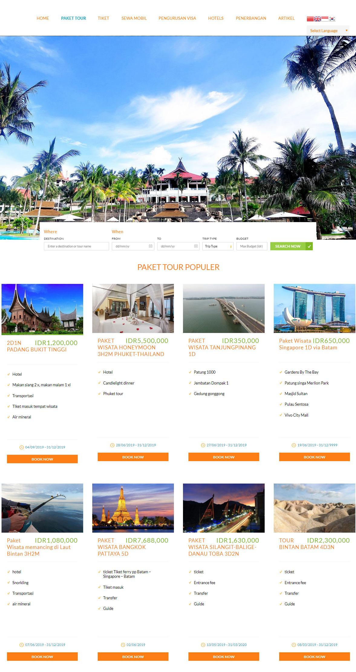 jasa pembuatan website tour and travel